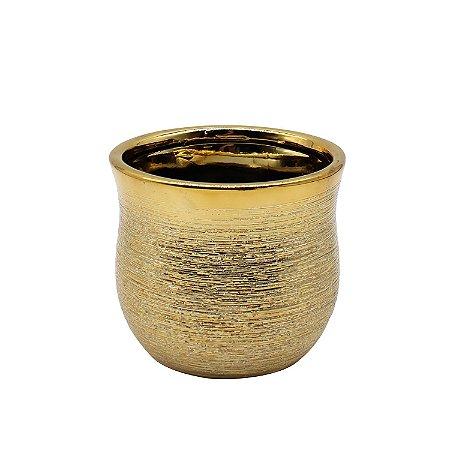 Vaso Cerâmica Bowl Dourado