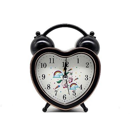 Relógio Despertador Unicórnio Coração