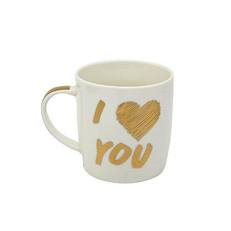 """Caneca Linha Gold """"I Love You"""" 320ml"""