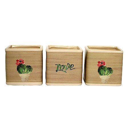 Cachepot Quadrado de Cerâmica Deset Cactus 7cm - 1 Peça