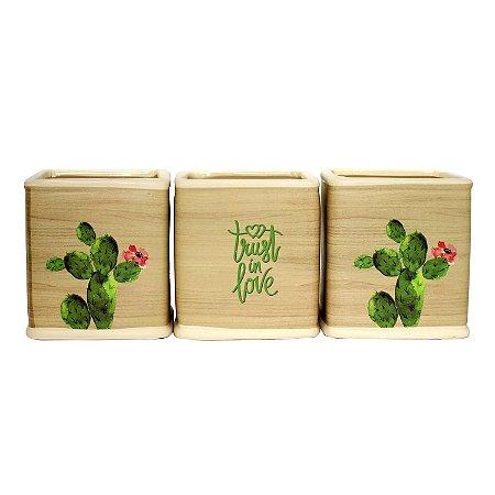 Cachepot Quadrado de Cerâmica Deset Cactus 10cm - 1 Peça