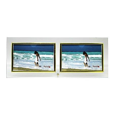 Porta Retrato de Vidro 2 Fotos Horizontal 10x15