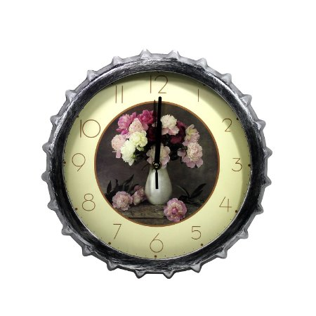 Relógio Tampa de Garrafa Flor 32cm