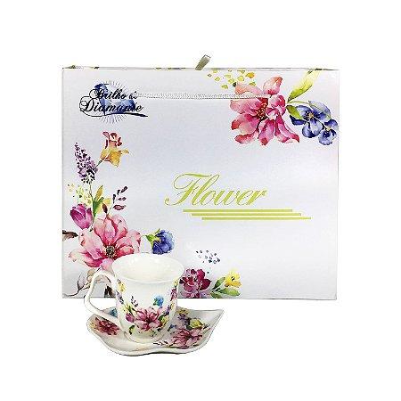 Jogo de Xícaras Floral - cod. BRJK-9720