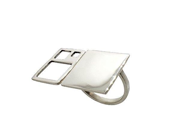 Anel Proporção Aurea Quadrado - Prata 950