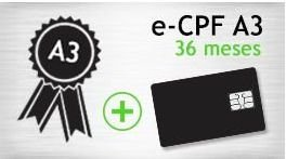 E- CPF A3 - SMART - CERTIFICADO 36 MESES