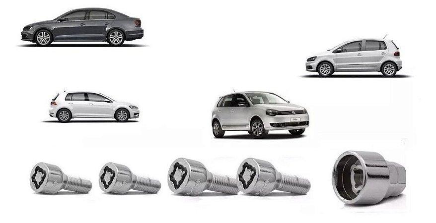 Jogo DE Parafusos Antifurto 14X1,5 VW  Jetta, Golf, Polo, Fox, Amarok, Touareg