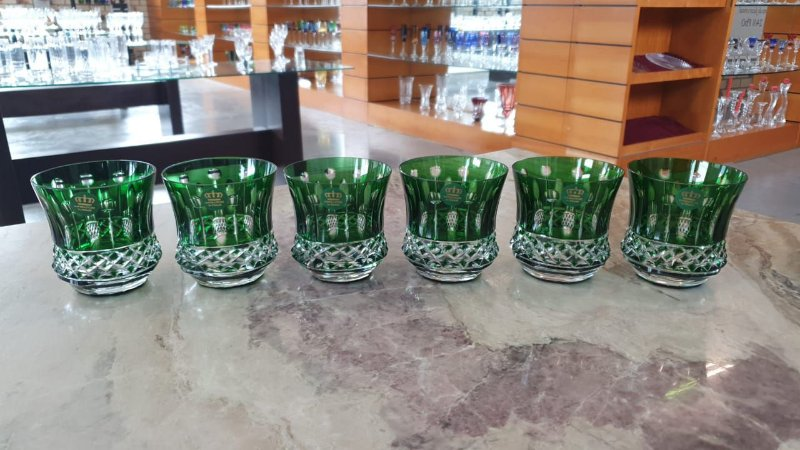 COPO WHISKY CRISTAL IMPERATTORE BY STRAUSS - COR VERDE  - CX 6 PCS