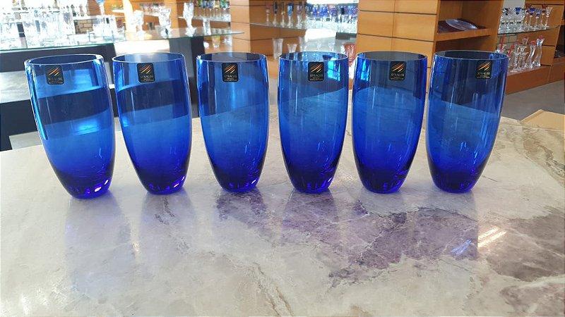 COPO LONG DRINK CRISTAL STRAUSS -  COR AZUL - CX 6 PCS