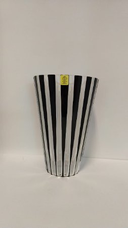 VASO CRISTAL STRAUSS LAPIDADO - COR BLACK AND WHITE 21 CM
