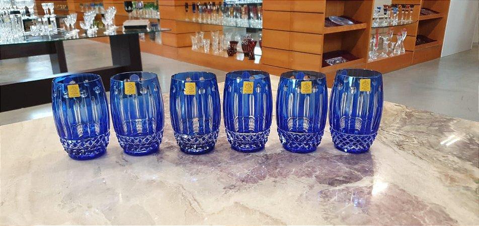 COPO LONG DRINK CRISTAL STRAUSS COR AZUL - CX 6 PÇS