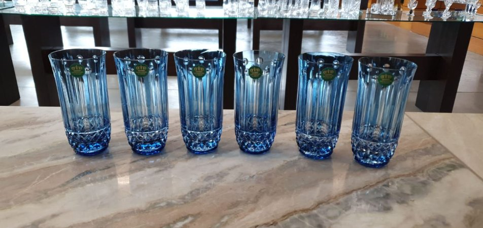 COPO LONG DRINK CRISTAL IMPERATTORE BY STRAUSS - COR AZUL CLARO - CX 6 PÇS