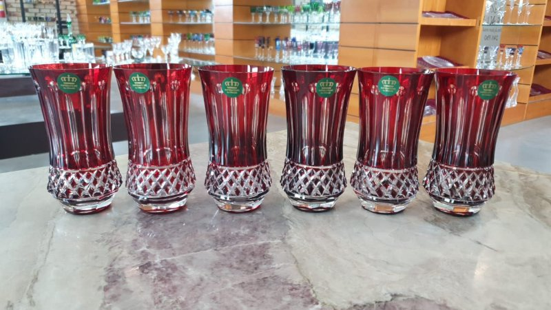 COPO LONG DRINK CRISTAL IMPERATTORE BY  STRAUSS - COR VERMELHA CX 6 PCS