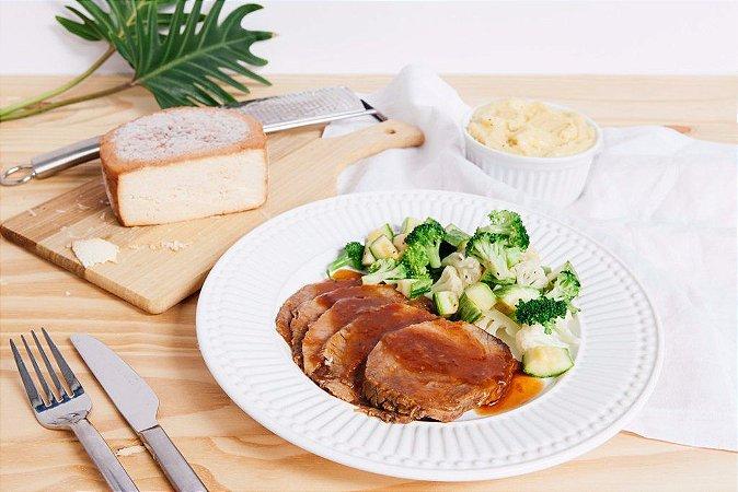 Carne Assada + Purê de Batata + Legumes 450g | Porção Individual | Produto congelado e acondicionado a vácuo
