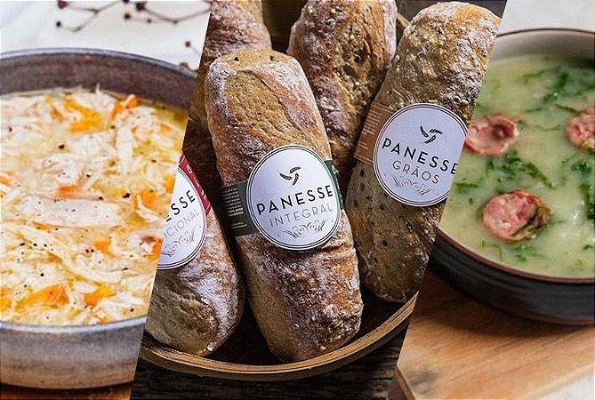 Kit 9 Sopas + Pão Panesse | Porção Individual | Produto acondicionado em pote