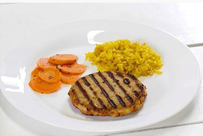 Hambúrguer de Frango + Cenoura Salteada + Arroz Integral com Açafrão da Terra 300g | Porção Individual | Produto acondicionado a vácuo