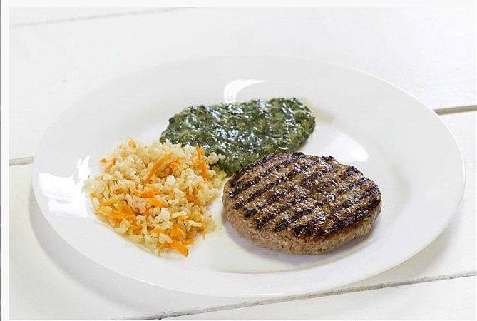 Hambúrguer de Carne + Creme de Espinafre + Arroz Integral com Cenoura 300g | Porção Individual | Produto acondicionado a vácuo