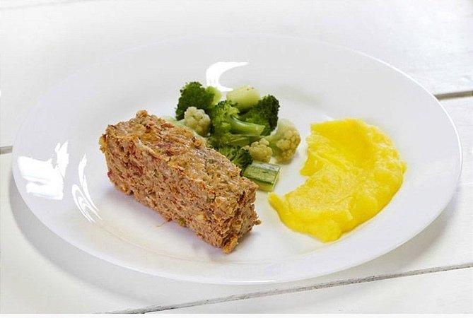 Bolo de Carne + Legumes no Vapor + Purê de Mandioquinha 300g | Porção Individual | Produto acondicionado a vácuo