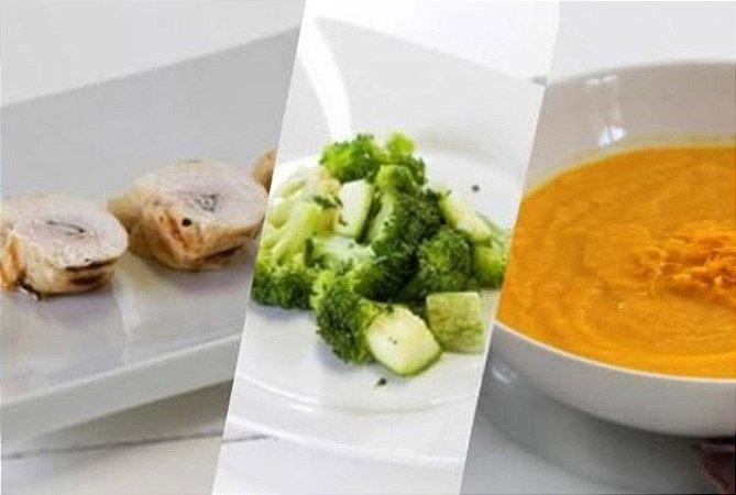 Saltimboca de Frango + Purê de Cenoura com Gengibre + Brócolis 300g | Porção Individual | Produto acondicionado a vácuo