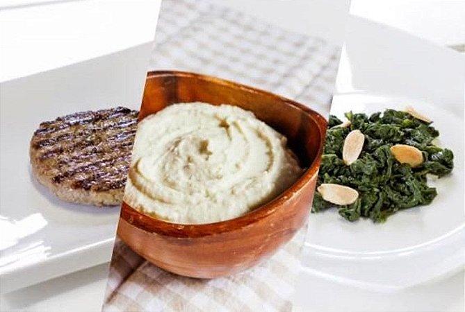 Hambúrguer de Carne + Purê de Batata doce c/ Gengibre + Espinafre com Amêndoas 300g | Porção Individual | Produto acondicionado a vácuo