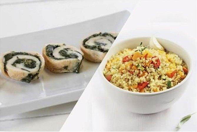Filé de Frango com Creme de Espinafre + Quinoa com Legumes