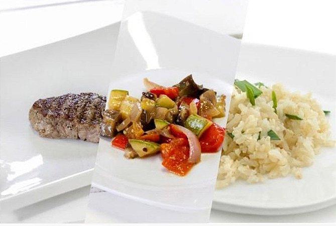 Filé Mignon Grelhado + Ratatouille + Arroz Integral 300g | Porção Individual | Produto acondicionado a vácuo