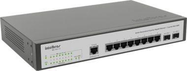 Switch Desktop Gerenc 8 P Giga Ethernet e 2 P Mini GBIC SG 1002MR - Intelbras