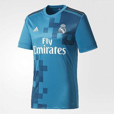 Camisa Real Madrid Third 17 18 s nº - Torcedor Adidas Masculina - Azul bec06dc8b37f5