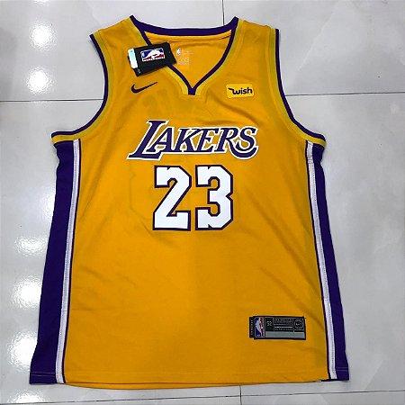 abf83b1ac CAMISA REGATA NBA LOS ANGELES LAKERS LEBRON JAMES 23 - AMARELA ...