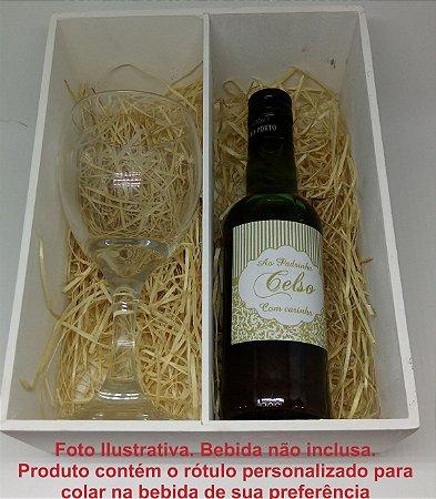 Caixa Convite de Padrinho com Taça de Vinho