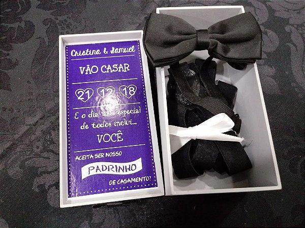 Caixa Convite de Padrinho com Gravata e Suspensório