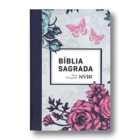 Bíblia Sagrada NVI Grande - Capa Semiluxo Lilás Floral