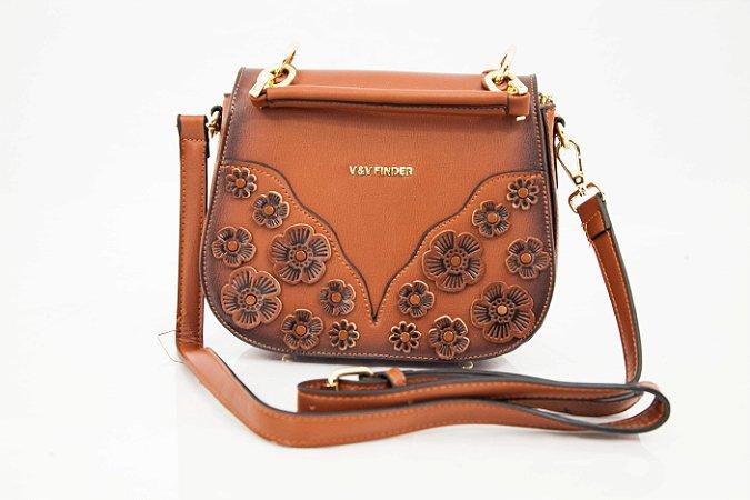 Bolsa transversal com detalhes de flores Café - V&V Finder