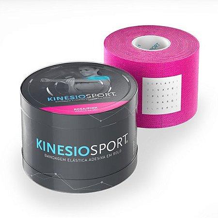 Bandagem Elástica 5cmX5m Cor Rosa - KinesioSport