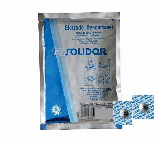 Eletrodo ECG Adulto/Infantil Quadrado (50Un) - Solidor