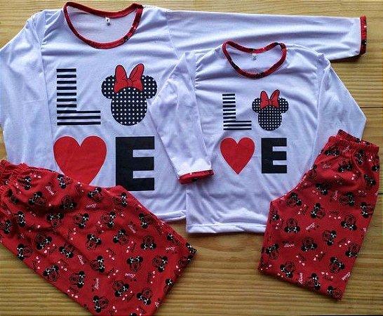 Pijama Mãe e Filha Love com calça e blusa com manga cumprida