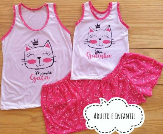 Pijama Mãe e Filha Gatinha shorts com regata