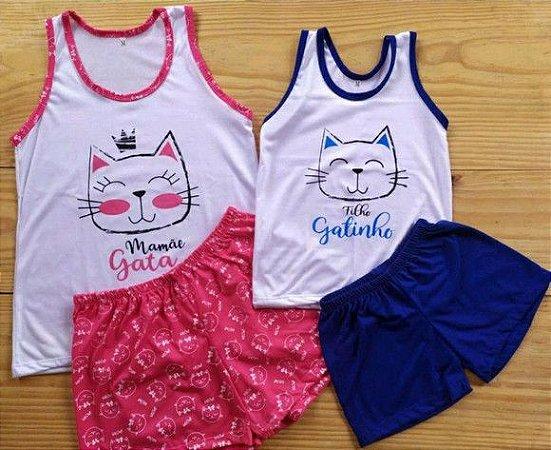 Pijama Mãe e Filho Gatinha shorts com regata