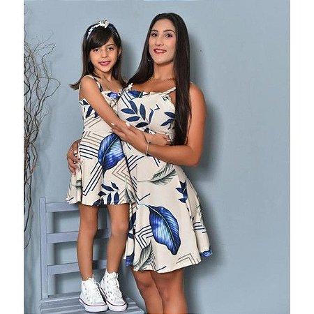 Vestido mãe e filha babado azul