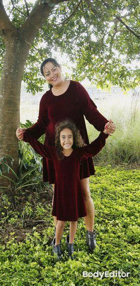 Tal mãe, tal filha vestido Veludo Vinho