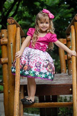 Vestido de Festa Infantil Masha Urso