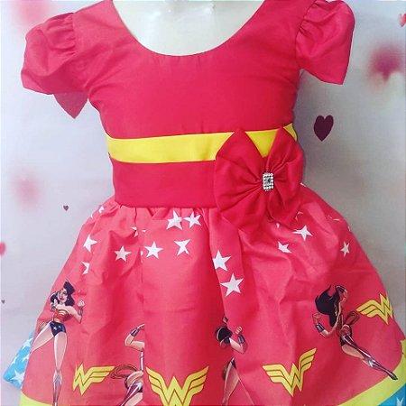 Vestido de Festa Infantil Mulher Maravilha