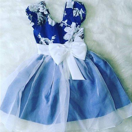 Vestido de Festa Infantil Floral Azul