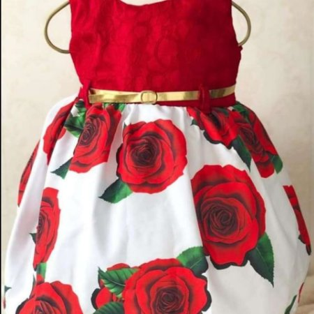 Vestido de Festa Infantil Vermelho Flores