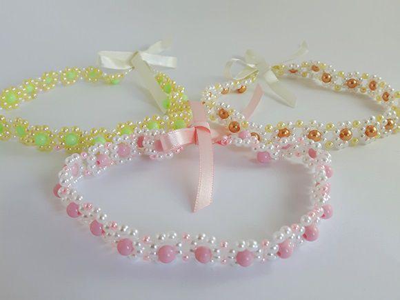 Headband em pérolas infantil colorida