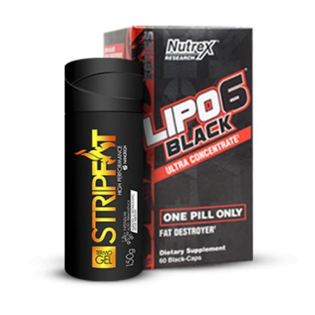 KIT Lipo 6 Black 60 cápsulas - Nutrex  +  StripFat Termo Gel 150g - NanoTech
