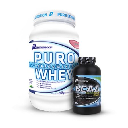 KIT Puro Whey 900g - Performance + BCAA Science 500 (200 tabletes) - Performance