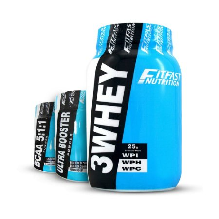 KIT 3Whey 900g - Fit Fast + Ultra Booster 170g - Fit Fast + BCAA 5:1:1 170g - Fit Fast