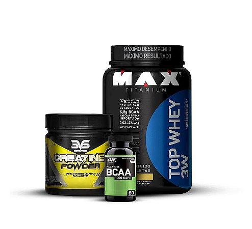 KIT Top Whey 3W (900g) - Max Titanium + Creatine Powder (150g) - 3VS Nutrition + BCAA 1000 (60 cápsulas) - Optimum Nutrition