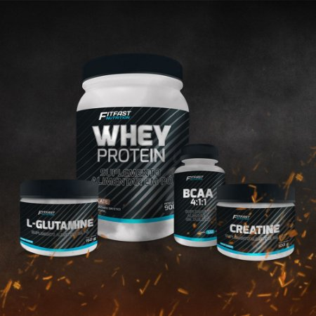 COMBO Fit Fast - Whey (900g) + Glutamina (150g) + Creatina (100g) + BCAA 4:1:1 + Coqueteleira Brothers Nutrition